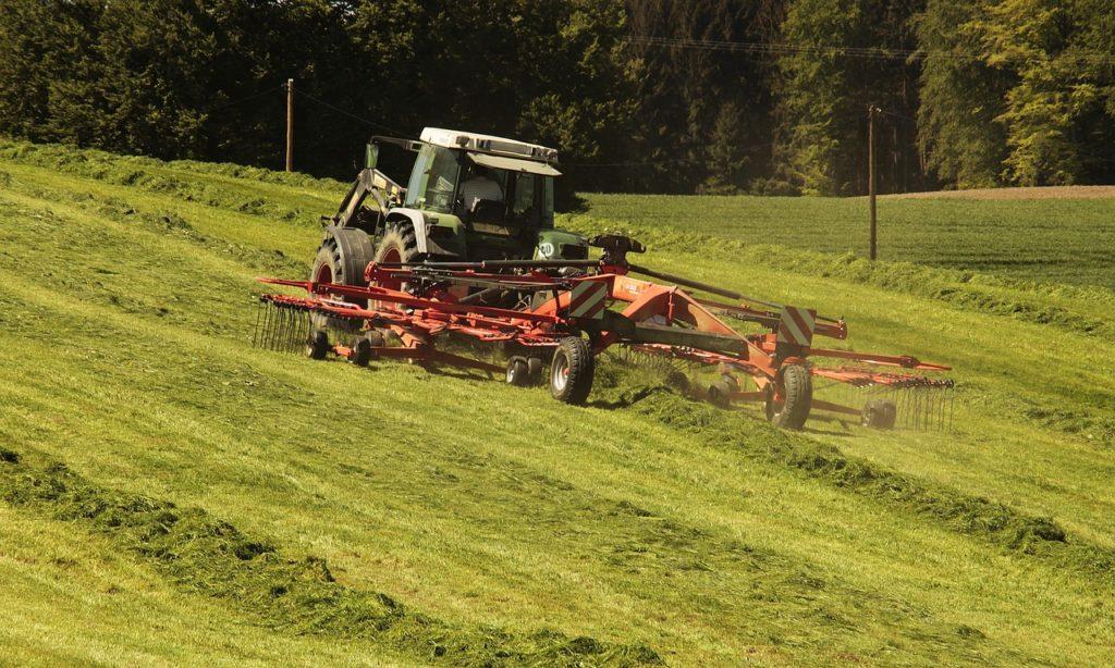 tractor harvesting